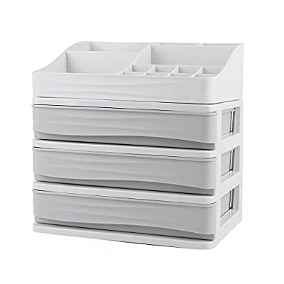 YOUTH UNION Cosmetic Storage Box Makeup Organizer Multi-Layer Drawer for Bathroom Counter Desktop (Grey, s-3) - Keeps clutter away on the counter top, work desk, etc. by keeping everything in one place and fast and convenient to use. Material: Made of environmentally friendly PP materials that is completely waterproof and washable, with superior drainage.Delicate craft,elegant and beautiful color. Multilayer Design: The top layer of the compartment can hold lipstick and other cosmetics; the drawers can be classified and stored (cosmetics, medicines, helmets, bastringues,ect. ); Handle design to easily pull and take items in the drawer - organizers, bathroom-accessories, bathroom - 41hcnsz 2RL. SS400  -