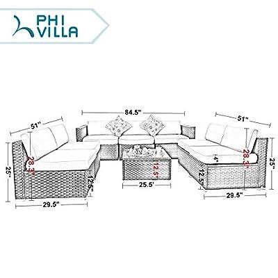 PHI VILLA Outdoor Rattan Sectional Sofa- Patio Wicker Furniture Set