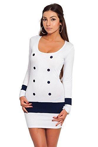 Robe FASHION Moulant Mini Femmes avec pour Coton Decollet 8078 Sexy Boutons Blanc FUTURO YHdwqY