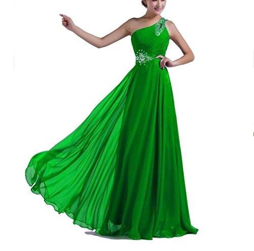 Ak Del Vestito Lungo Donne Convenzionale Verde Uno Delle Bellezza Sera Chiffon Spalla rwqOfrp