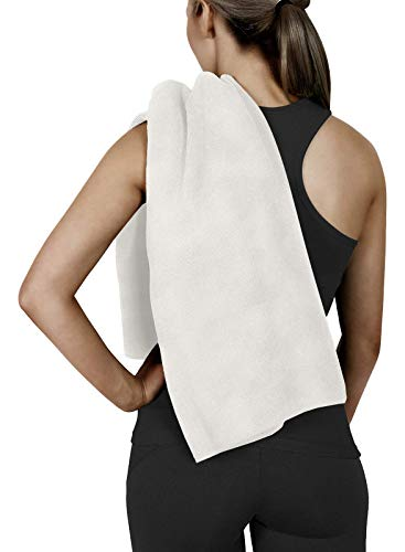 (Corner4Shop Gym Fitness Sports Yoga Camping 100% Cotton Terry Towel Ultra Soft (Light Beige - 6 Pack))