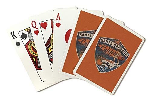 Santa Barbara, California - Surfer Scene - Contour (Playing Card Deck - 52 Card Poker Size with Jokers)