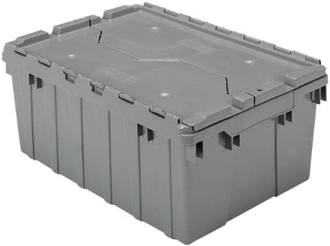 Akro-Mils 39085 Industrial Plastic Storage Tote with Hinged Attached Lid, 21-Inch L by 15-Inch W by 9-Inch H , Gray, 6-Pack
