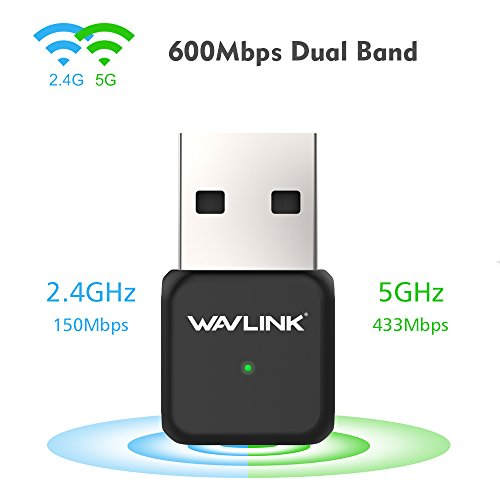 WAVLINK Wireless USB Wifi Adapter, AC600 Wireless Network Adapter Dual Band 2.4G 150Mbps + 5G 433Mbps USB Wifi Dongle for Desktop Pc Laptop