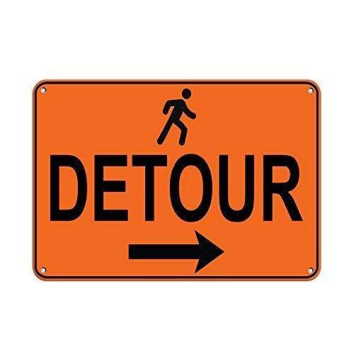 - Aubrey Hammond Safety Warning Metal Mark - Right Arrow Pedestrian Detour Traffic Sign Aluminum Metal Sign Tin Sign 16 x 12 inch tin Sign