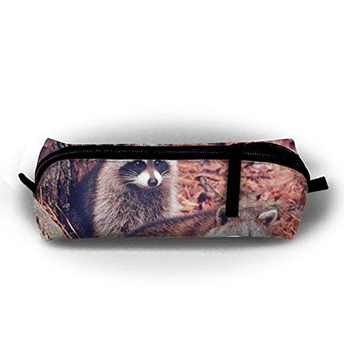 Pair Of Racoon Wildlife Baby Animal Pen Bag Makeup Pouch Zipper Box Office Organizer Bag Pencil (Racoon Makeup)