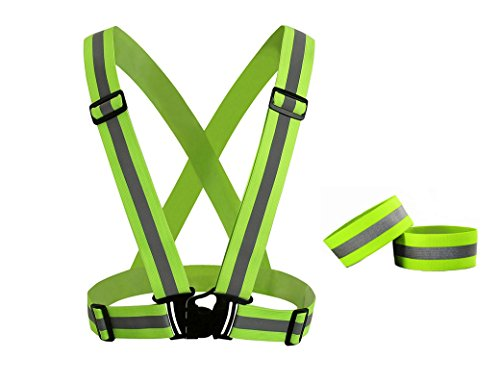 - DOURR Reflective Vest and 2 bands, high visibility vest, Outdoor Safety Gear for Running or Cycling, Lightweight, Adjustable and Elastic(Unisex)
