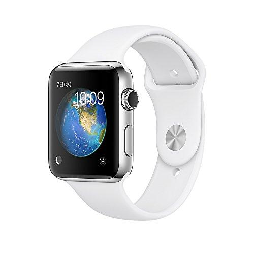 Apple Watch Series 2 38mm ステンレススチールケースとホワイトスポーツバンド MNTC2J/A