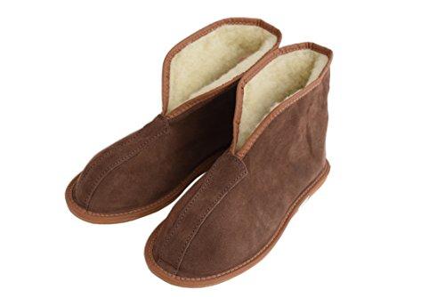 Natleat Slippers Womens Mens Unisex Natural Leather Sheepskin Slipper Boots, Damen Stiefel & Stiefeletten braun braun, grau - Suede Gray / 1 - Größe: 37 EU