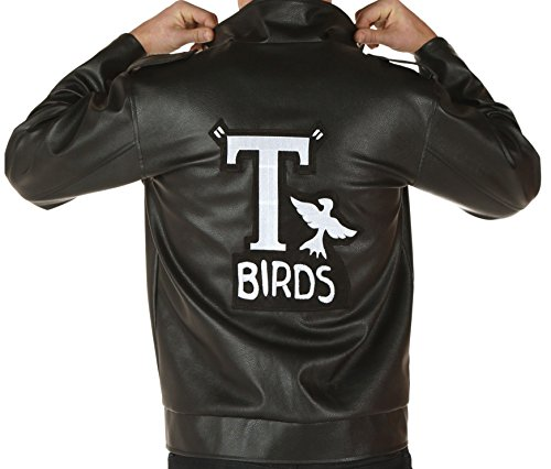 John Travolta Costume Collection Grease T Birds Black Real Leather Jacket XXL (Sandy And Danny From Grease Costumes)