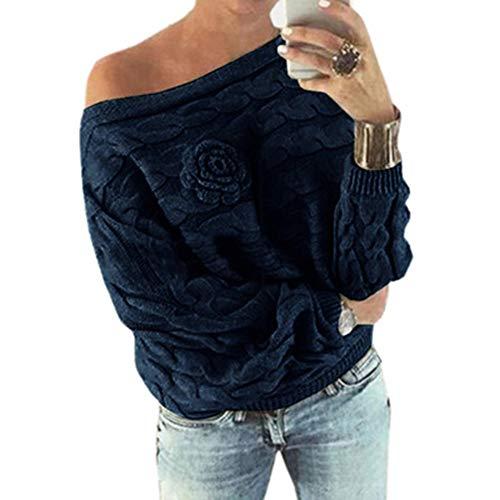 Hemlock Women Knit Sweater Coat Off Shoulder Loose Soft Knitted Pullover Sweatshirt Outerwear Top ()