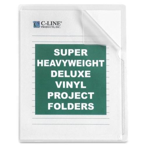 "C-LINE Project Folders, Vinyl, Nonglare, 11""X8-1/2"", 50/BX, Clear (62138)"