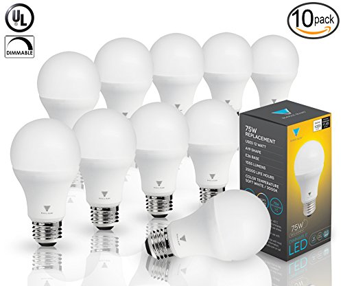Triangle Bulbs (Pack of 10) LED Dimmable 12 Watt A19 LED Bulb, 1055 Lumens Soft White (3000K) 75 Watt Incandescent Light Bulb Replacement (75w Four Bulbs Incandescent)