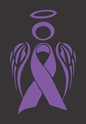 Barking Sand Designs Pancreatic Cancer Ribbon Angel Awareness November Purple - Die Cut Vinyl Window Decal/Sticker for Car/Truck 3.5