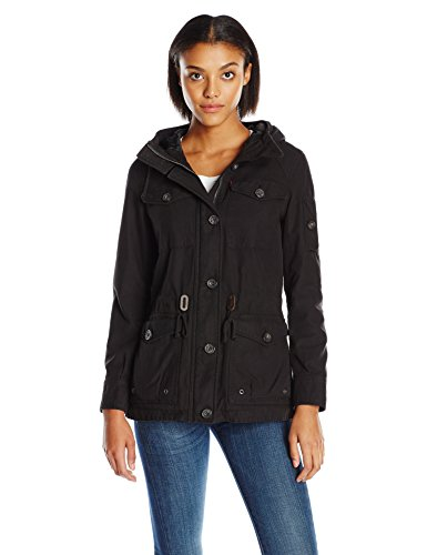 (Levi's Women's Cotton Four Pocket Hooded Field Jacket, black, L )