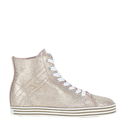 Hogan Rebel Hi Top Sneakers Donna HXW1820Q400BTQM013 Glitter Oro