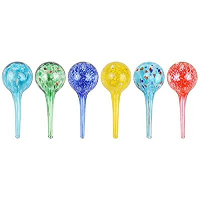 """Miles Kimball Set of 6 Small Multicolored Glass Plant Watering Globes-Each Measures 6"""" L x 2.5"""" D"""