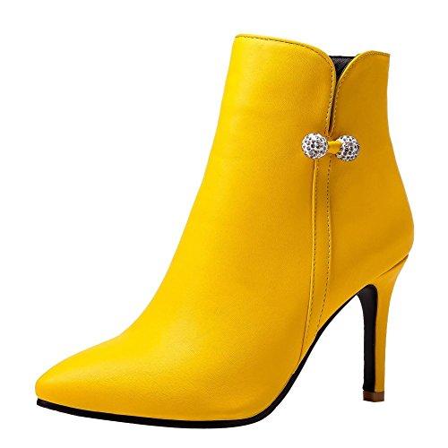 Mee Shoes Women's Sweet Zip Stiletto High Heel Short Boots Yellow
