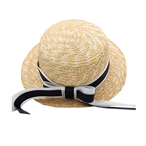 BOTINDO Girls Summer Straw Hat,Toddler Girl Bowknot Bench Straw hat of Wide Brim Provide Sun Protection Beige ()