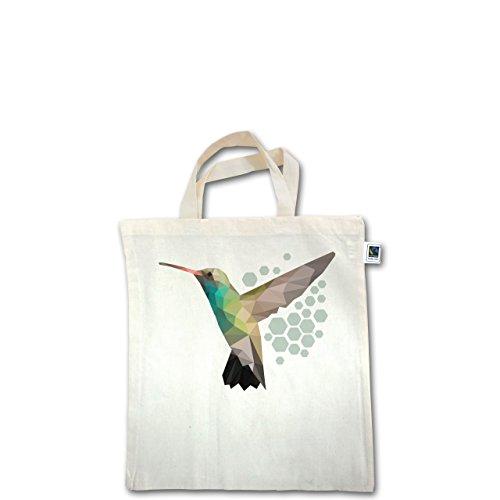 Vögel - Colibri - Unisize - Natural - XT500 - Fairtrade Henkeltasche / Jutebeutel mit kurzen Henkeln aus Bio-Baumwolle