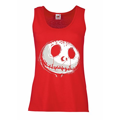 lepni.me Sleeveless t Shirts for Women Scary Skull Face - Nightmare - Halloween Outfit Party Costumes (X-Large Red Multi -