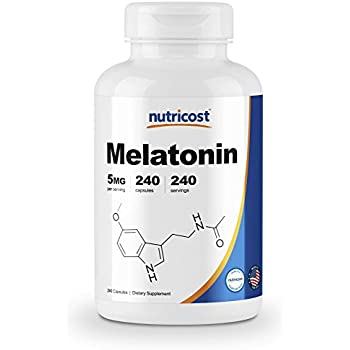 Nutricost Melatonin 5mg, 240 Capsules - Regulate Sleeping Cycle, Non-GMO, Gluten Free, Made in the USA