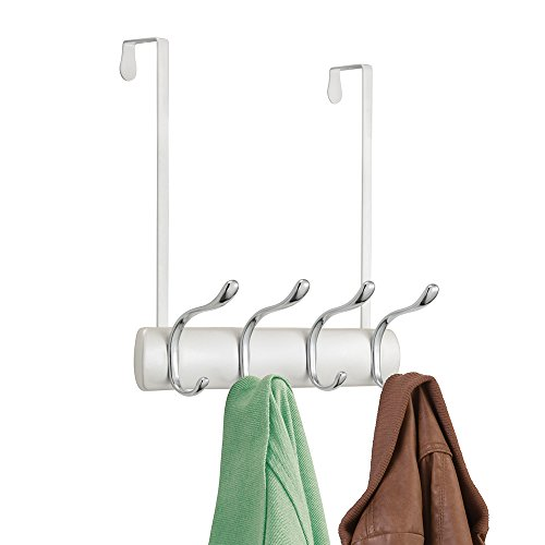 mDesign Decorative Over Door 8 Hook Storage Organizer Rack for Coats, Hoodies, Hats, Scarves, Purses, Leashes, Bath Towels & Robes - Compact Double Hook Design, No Hardware Needed - Pearl White/Chrome