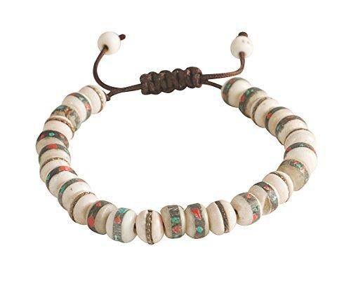 Love Beads Hippie (Tibetan Embedded Yak Bone Medicine Wrist Mala Bracelet Meditation Healing Prayer Beads (White))