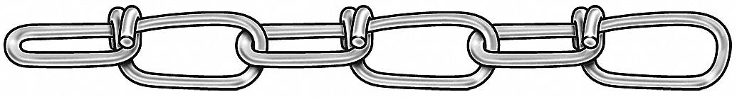 100 ft. Double Loop Chain, 2/0 Trade Size, 255 lb. Working Load Limit, For Lifting: No
