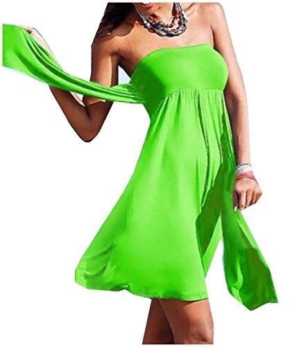 Strappy Stile Corto Sottile Di donne Coolred Base Tubo Vestito Solido Spiaggia Verde vRwqaP