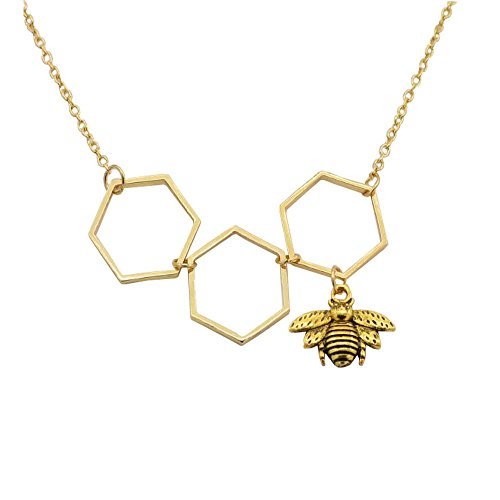 puxiaoa Women's Jewelry Honeycomb Honey Bee Hive Crystal Necklace Gold