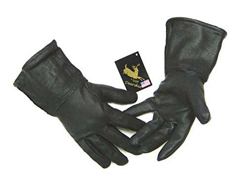 Northstar Mens Black Deerskin 4 Inch Gauntlet Gloves, Fleeced Lined 317B