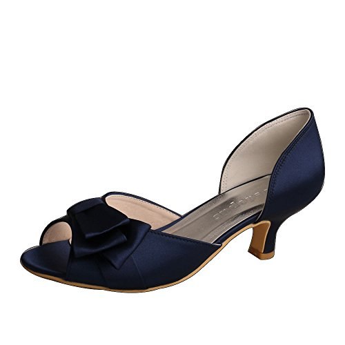 Dress Navy Shoes White (Wedopus MW556 Women Open Toe Low Heels Bow Prom Satin Evening Party Wear Bridal Shoes Size 11 Navy)