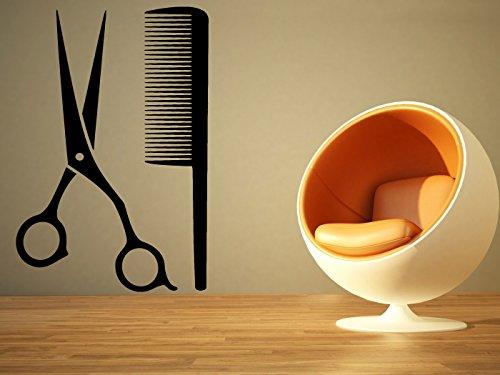 Wall Room Decor Art Vinyl Sticker Mural Decal Barber Shop Tools Hair Salon Scissors Comb Logo Emblem Symbol Big Large AS1150