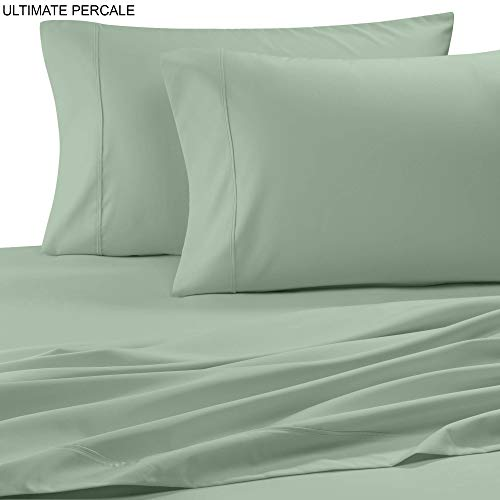 (Ultimate Percale 400 Thread Count 100% Cotton Pillow Case Set,2 Piece Set,Bestselling Standard Pillowcases Percale Weave,Classic Z-Hem,Super Soft Finish,Crisp and Cool Pillowcase,Sage)