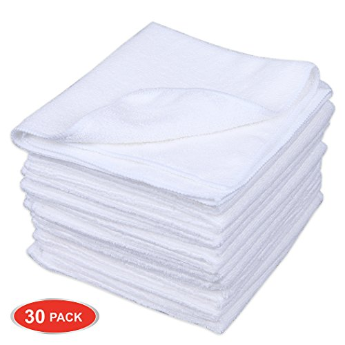 CARTMAN Microfiber Cleaning Cloth in White Color 14 in x 14 in, 30pk (White) ()