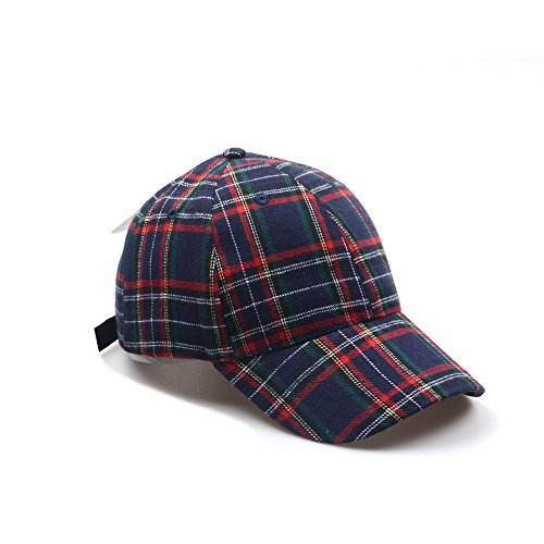 - Hatphile Mens Womens Dad Hat Large Plaid Navy