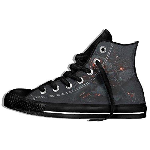 5981c86a555 Baskets Montantes Classiques Chaussures En Toile Anti-dérapant Gothique  Casual Marchant Pour Hommes Femmes Noir. chaussures  lacet ...