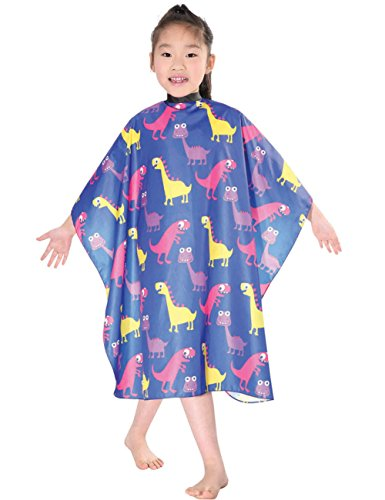 XMW Water Repellent Kids Hair Shampoo Cape with Snaps, Blue