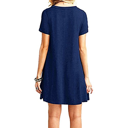 T Femme Shirts Loose Fonc Tops Znystar Manches Robe Casual Bleu Courtes PITXw