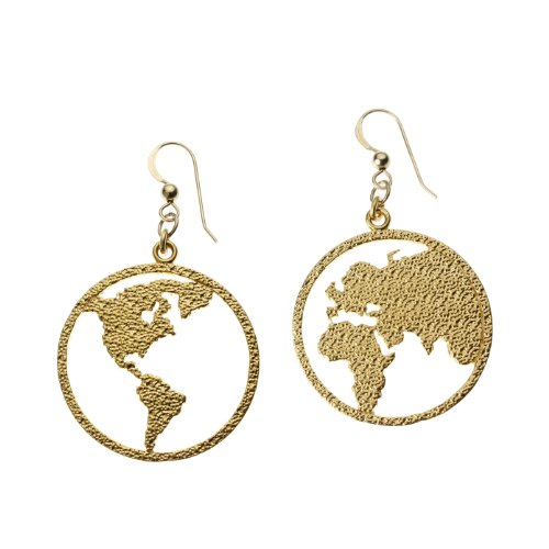 Cast Pendant Gold Wire Dangle (Peace on Earth Gold-dipped Earrings on French Hooks)