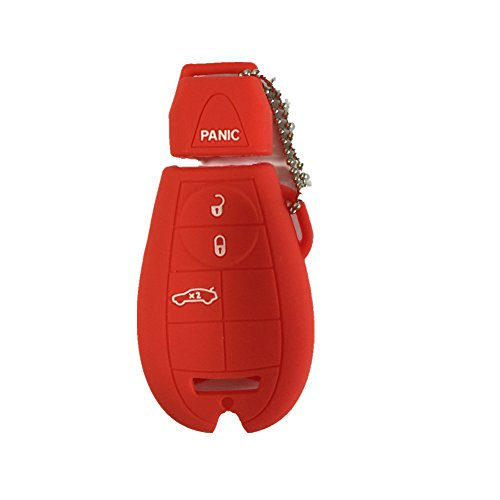 New Red Protect Silicone Bag 4 Buttons Remote Smart Key Case Cover Fob Chain Holder for Dodge Chrysler Magnum Challenger Charger (2010 Chains Key Chrysler)