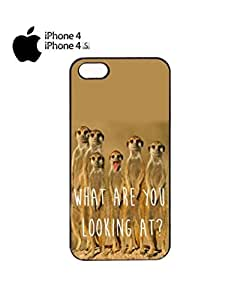 Meerkat What Are You Looking At Mobile Cell Phone Case Cover iPhone 4&4s White