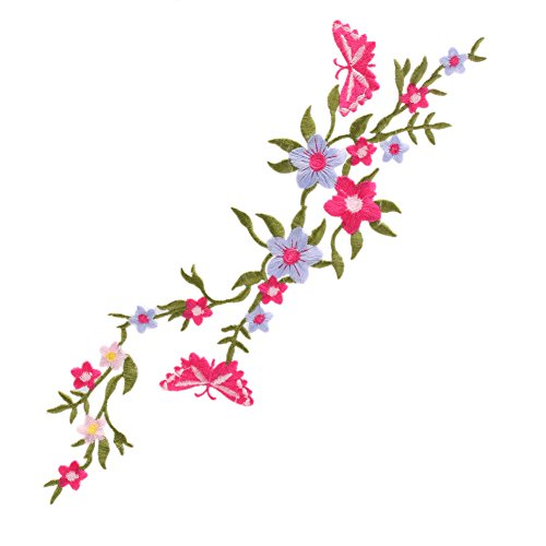 Slaxry Butterfly Flowers Floral Bouquet Boho Iron-On Embroidered Patch Applique Motif Garment Decor Craft (3#) (Iron Iii Tacking)