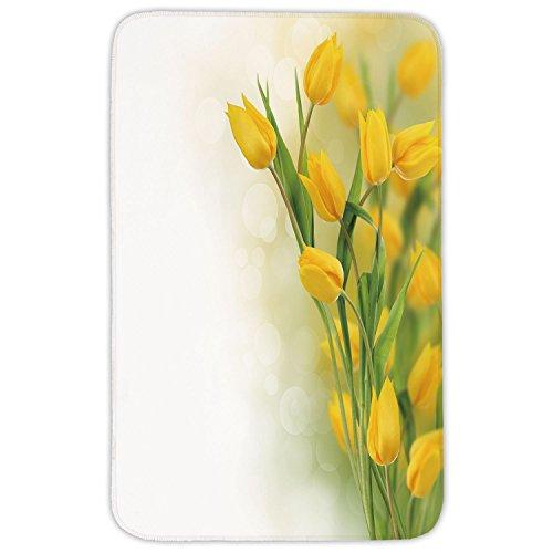 Rectangular Area Rug Mat Rug,Yellow Flower,Romantic Tulip Bouquet Famous Plant of Netherlands Botanical Theme Decorative,Mustard Fern Green,Home Decor Mat with Non Slip Backing