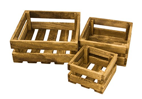 Red Co. Small Set of 3 Natural Wooden Crates for Vintage Shabby Chic Home Décor