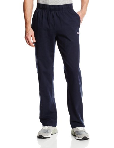 (Champion Men's Authentic Open Bottom Jersey Pant, Large - Navy)