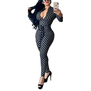Comaba Womens Bandage Bodycon Hooded Belt Stripes Rompers Jumpsuits