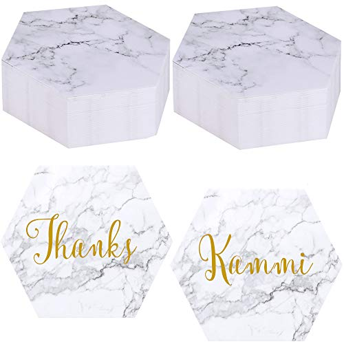 Exquiss 100 Packs Marble Hexagon Blank Place Cards Table Name Tags Table Card Seating Cards Notes Cards Message Cards-3.6
