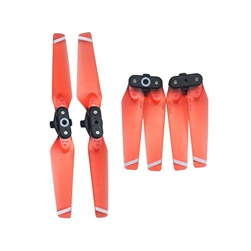Price comparison product image Witspace 1 Pair 4730F Propellers Quick-Release Foldable Transparent Blades For DJI Spark (Red)